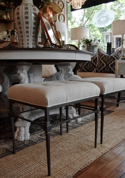 Upholstered Iron Benches