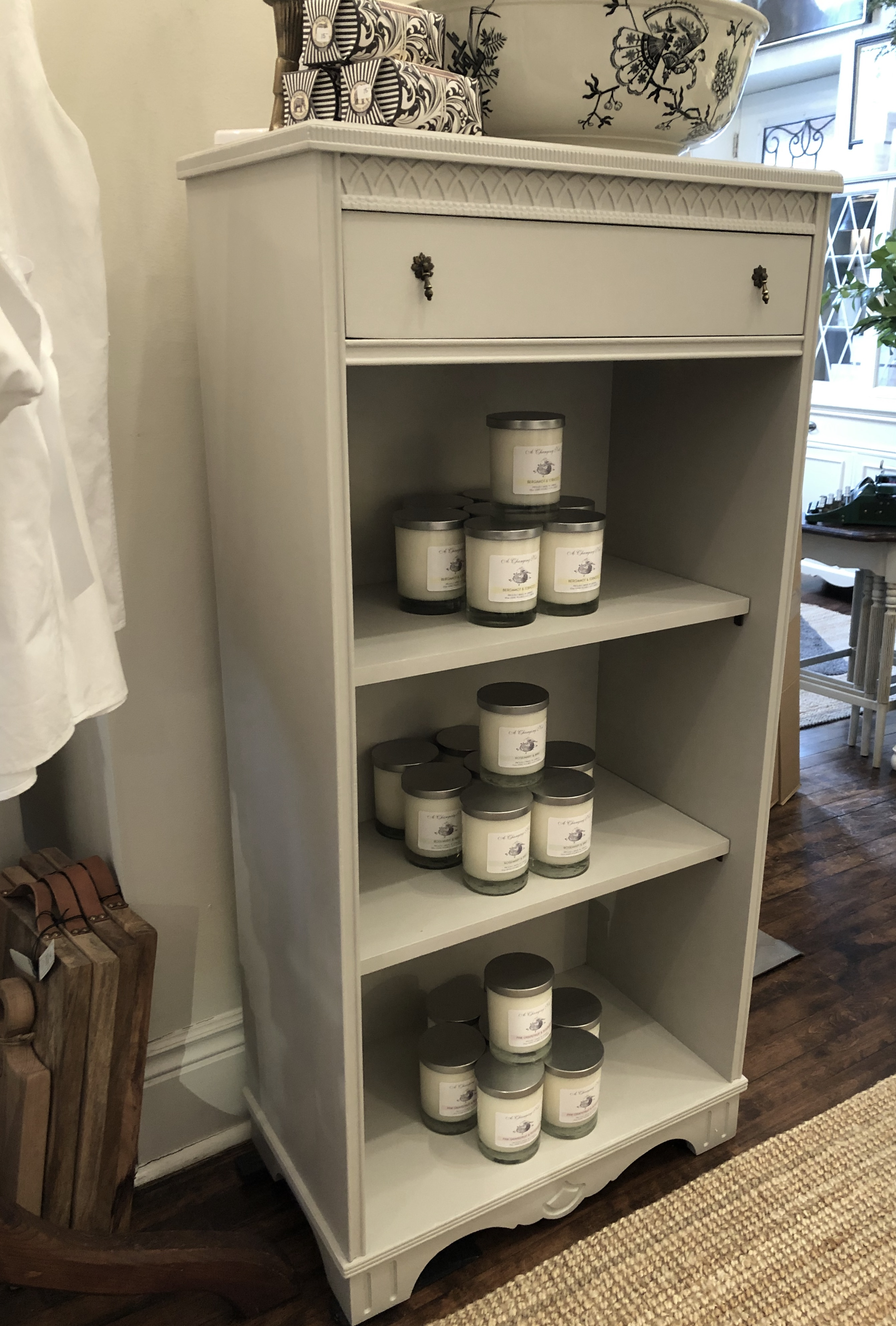 Painted Vintage Wooden Shelf with Drawer