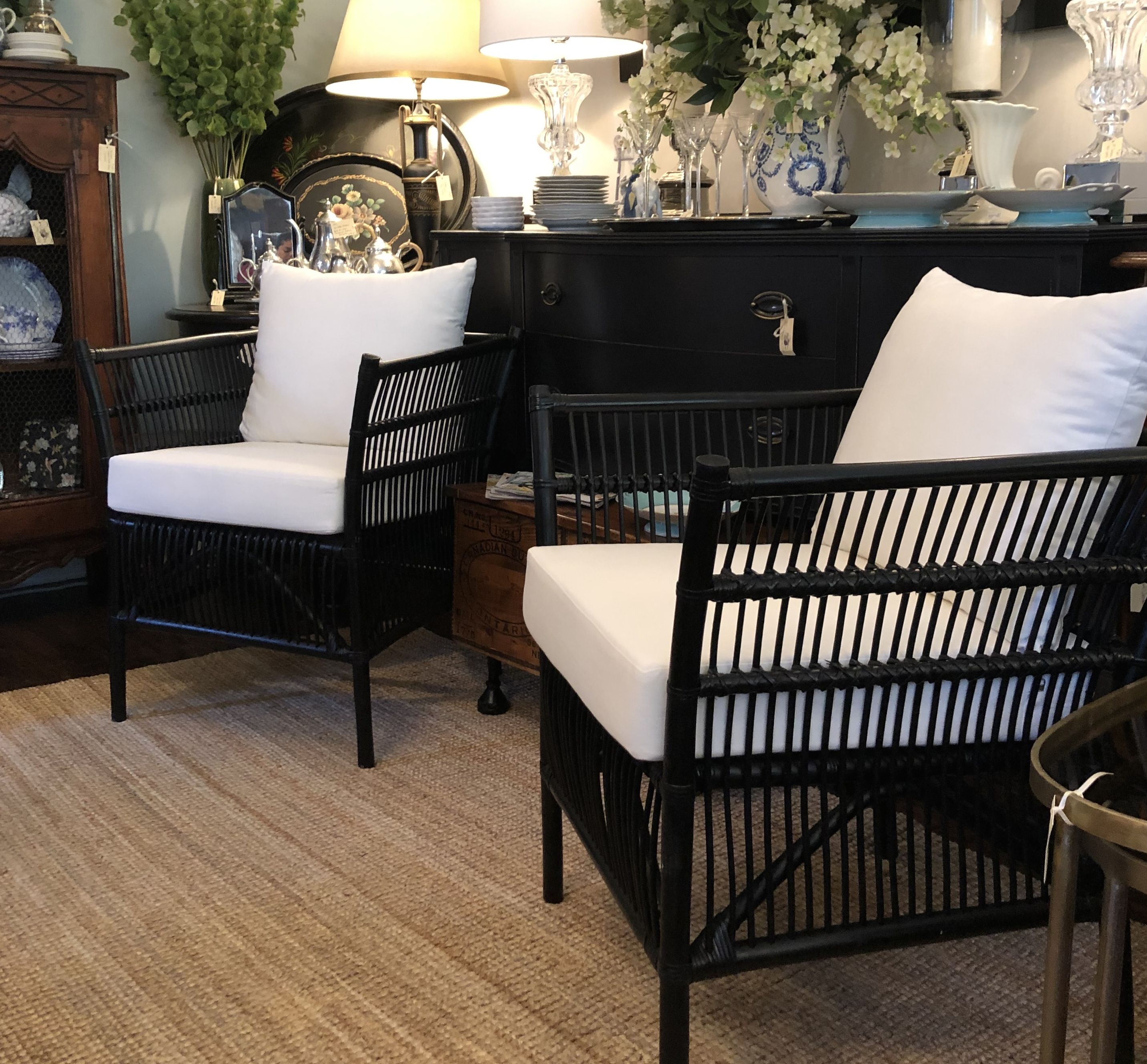 Black Rattan Chair with Seat & Back Cush