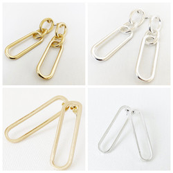 Silver and Gold Metal Earring