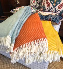 100% Wool Throw -Blue, Orange,  Yellow