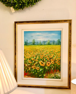 Framed Vintage Original Sunflower Painti