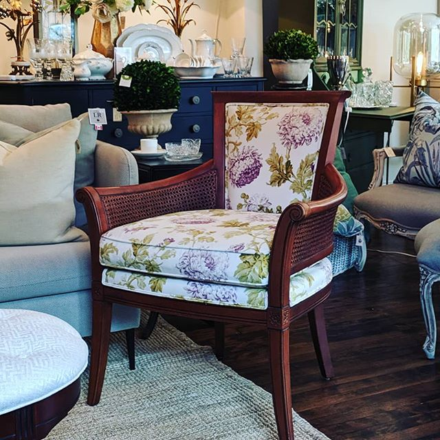 Gorgeous upholsterered Ethan Allen cane