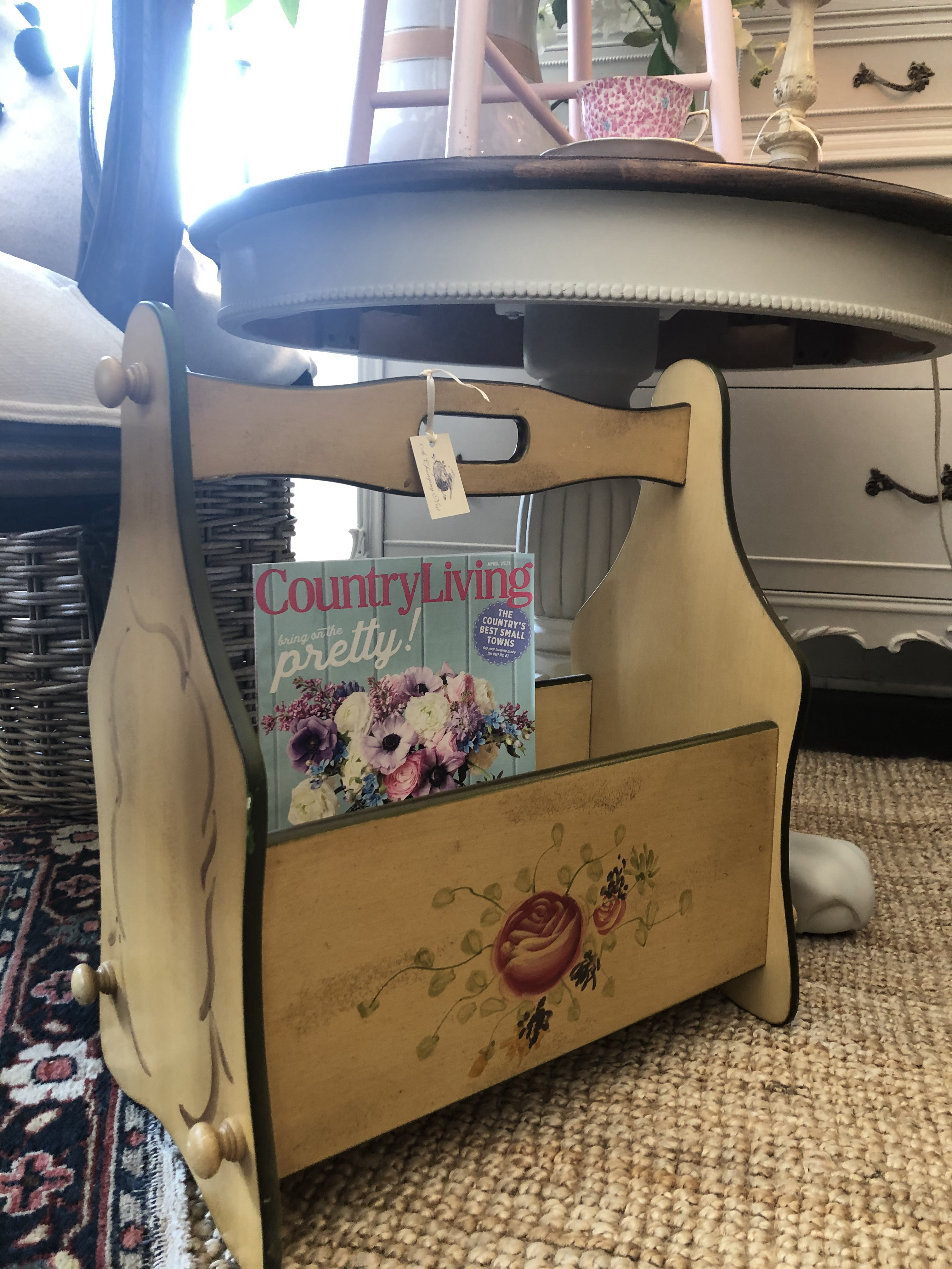 Vintage Painted Magazine Stand