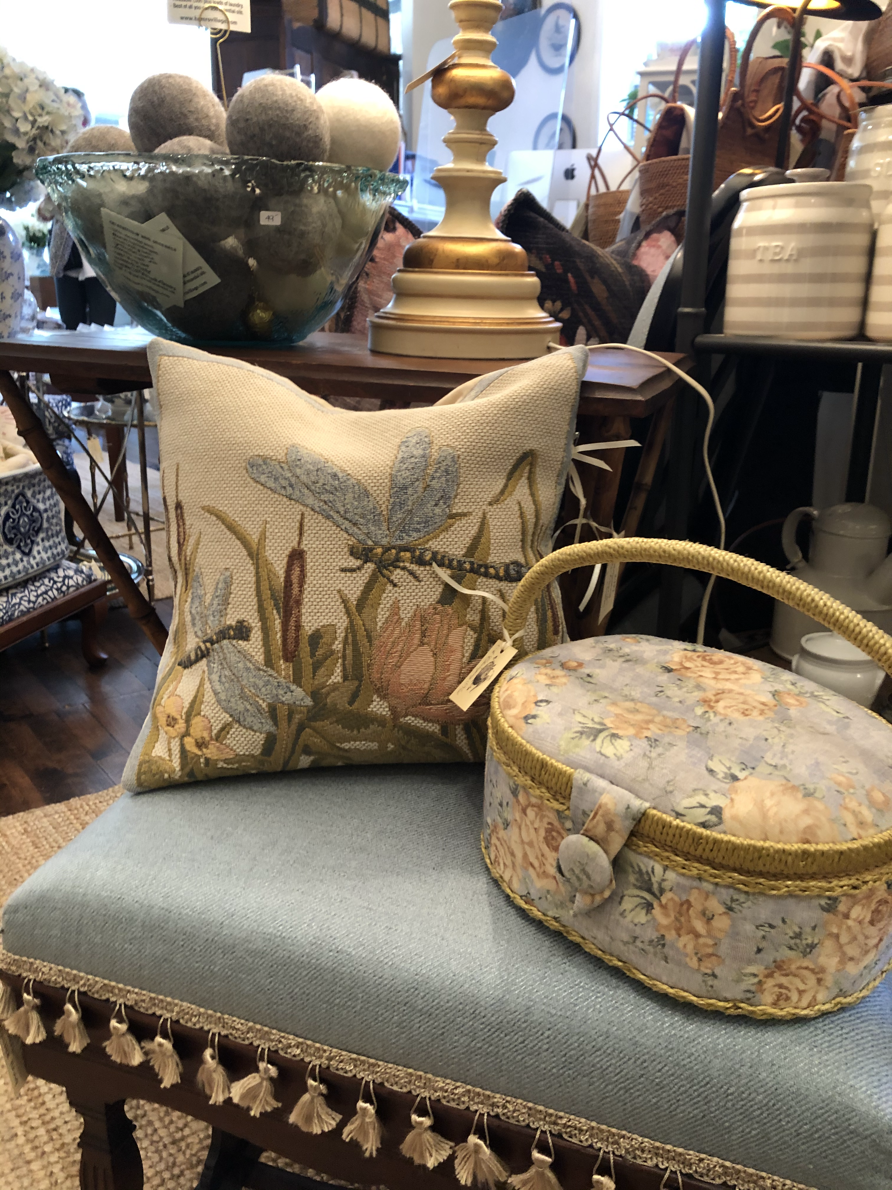 Tapestery Style Pillow and Sewing Box