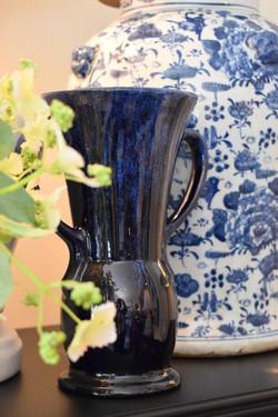 Vintage Deep Blue Pottery Vase