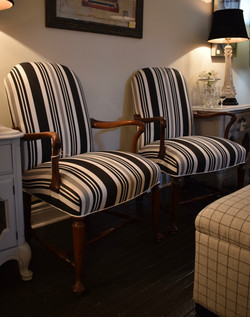 Pair of  Black &White Striped Vintage Armchairs