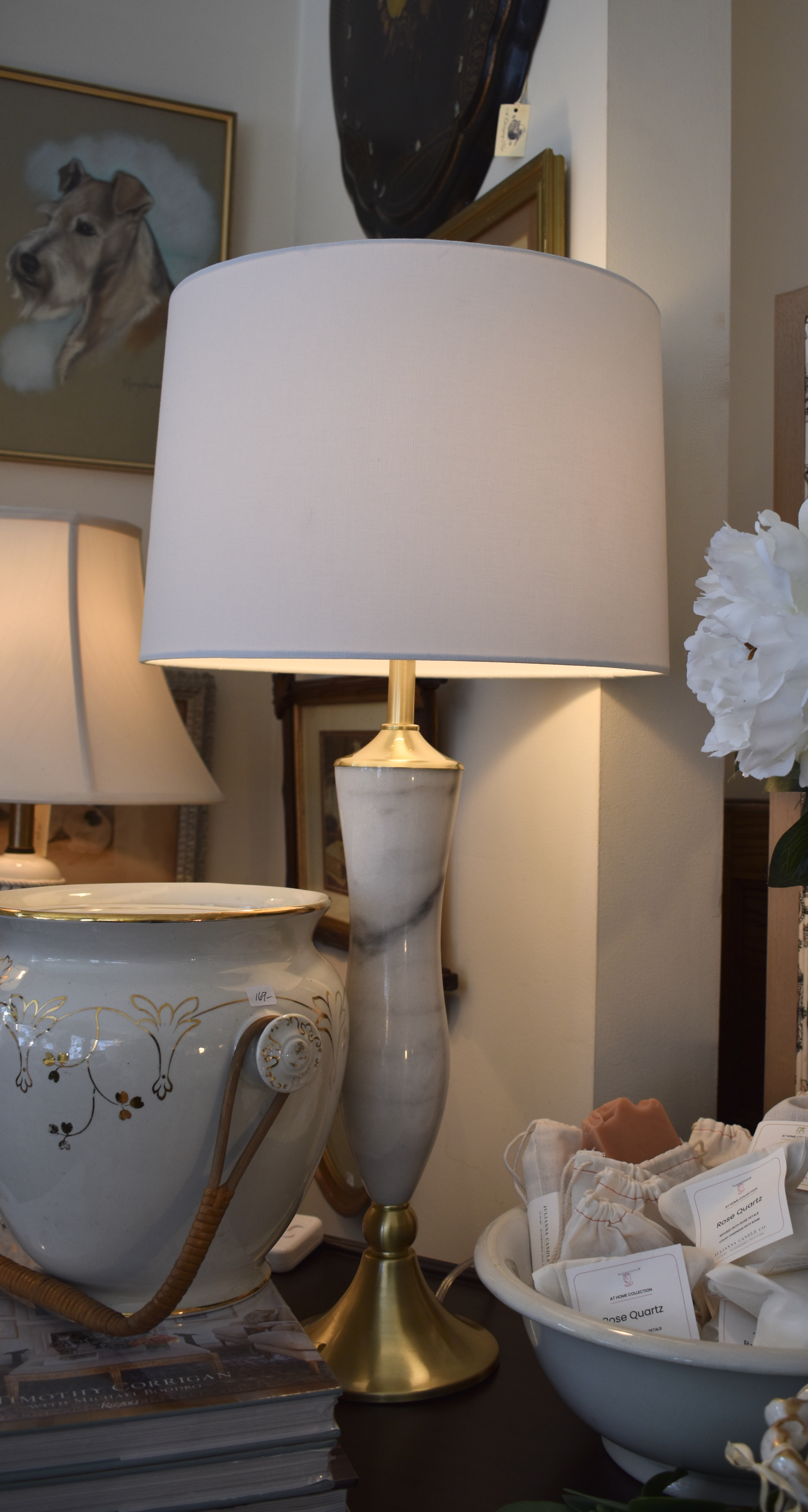 Marble Lamp & Brushed Gold Lamp