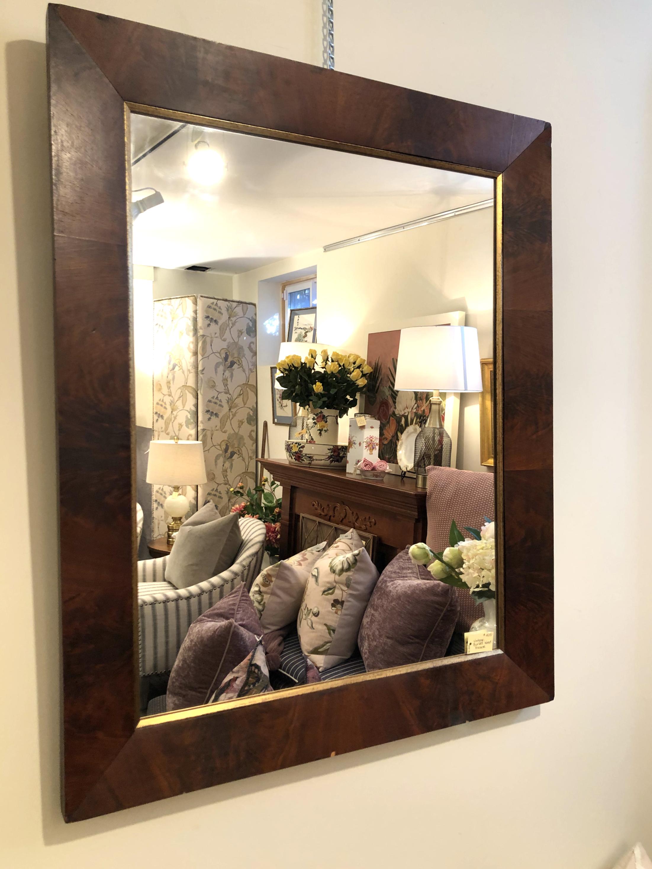 Vintage Burled Wood Mirror