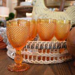 Set of 8 Diamond Cut Amber Glasses