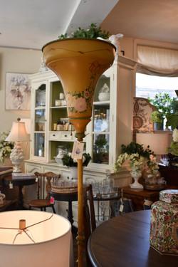 Vintage Handpainted Tin Standing Lamp