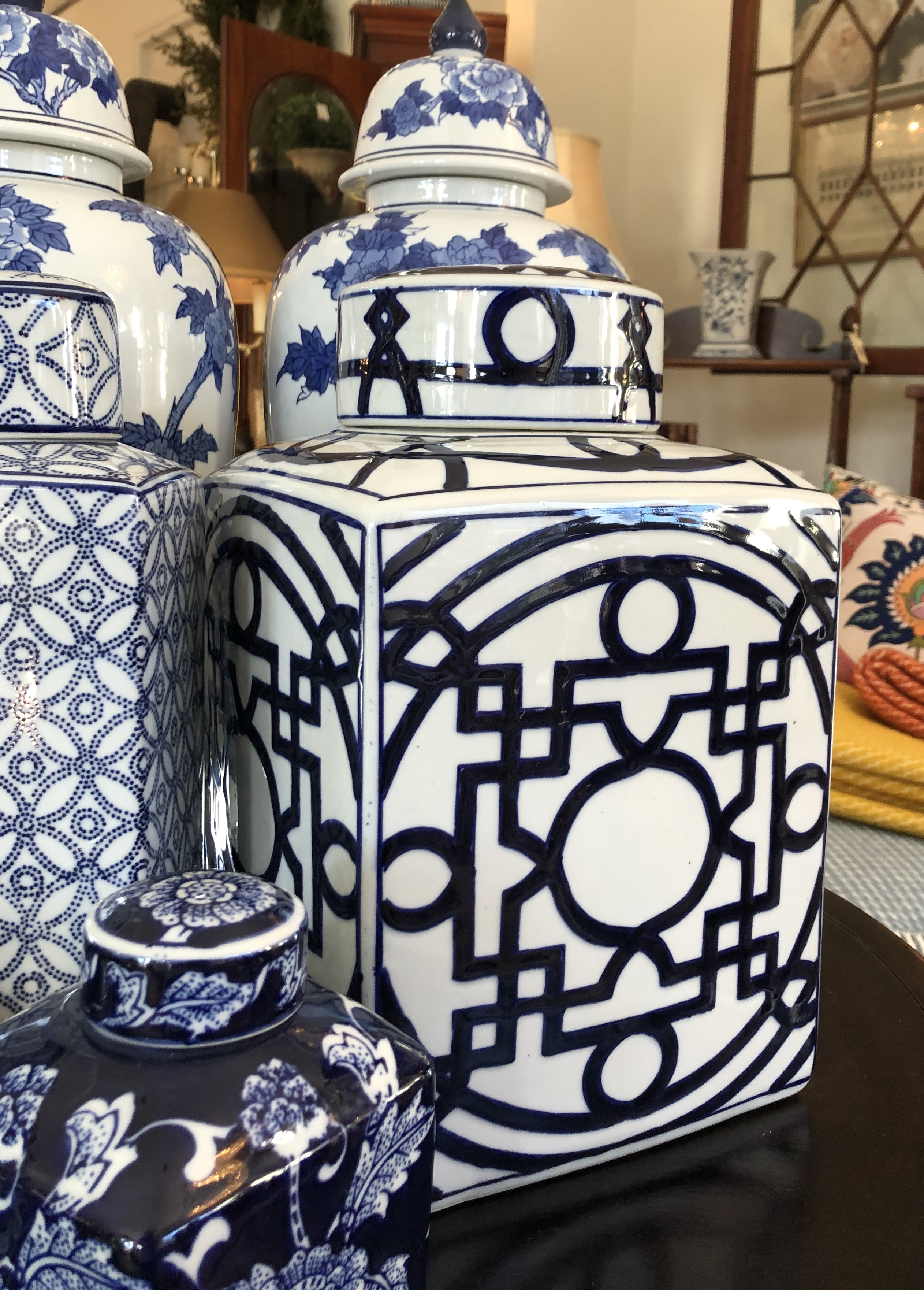 Large Asian Blue and White Ginger Jar