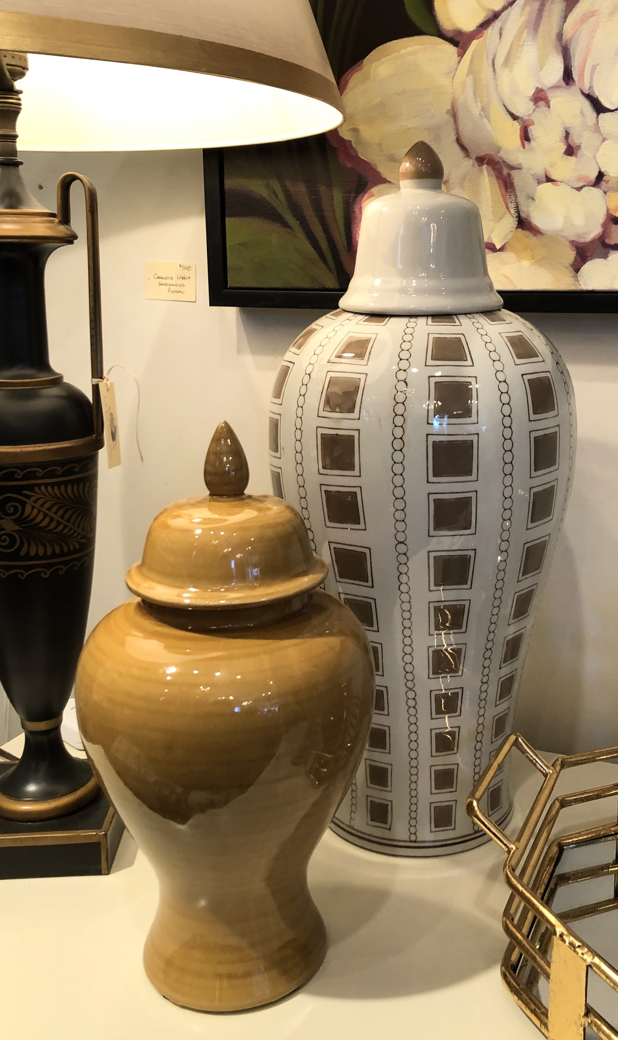 Lg and Small Decorative Gold Ginger Jars
