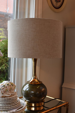 Olive Green Ceramic Lamp w/ Gold Accent