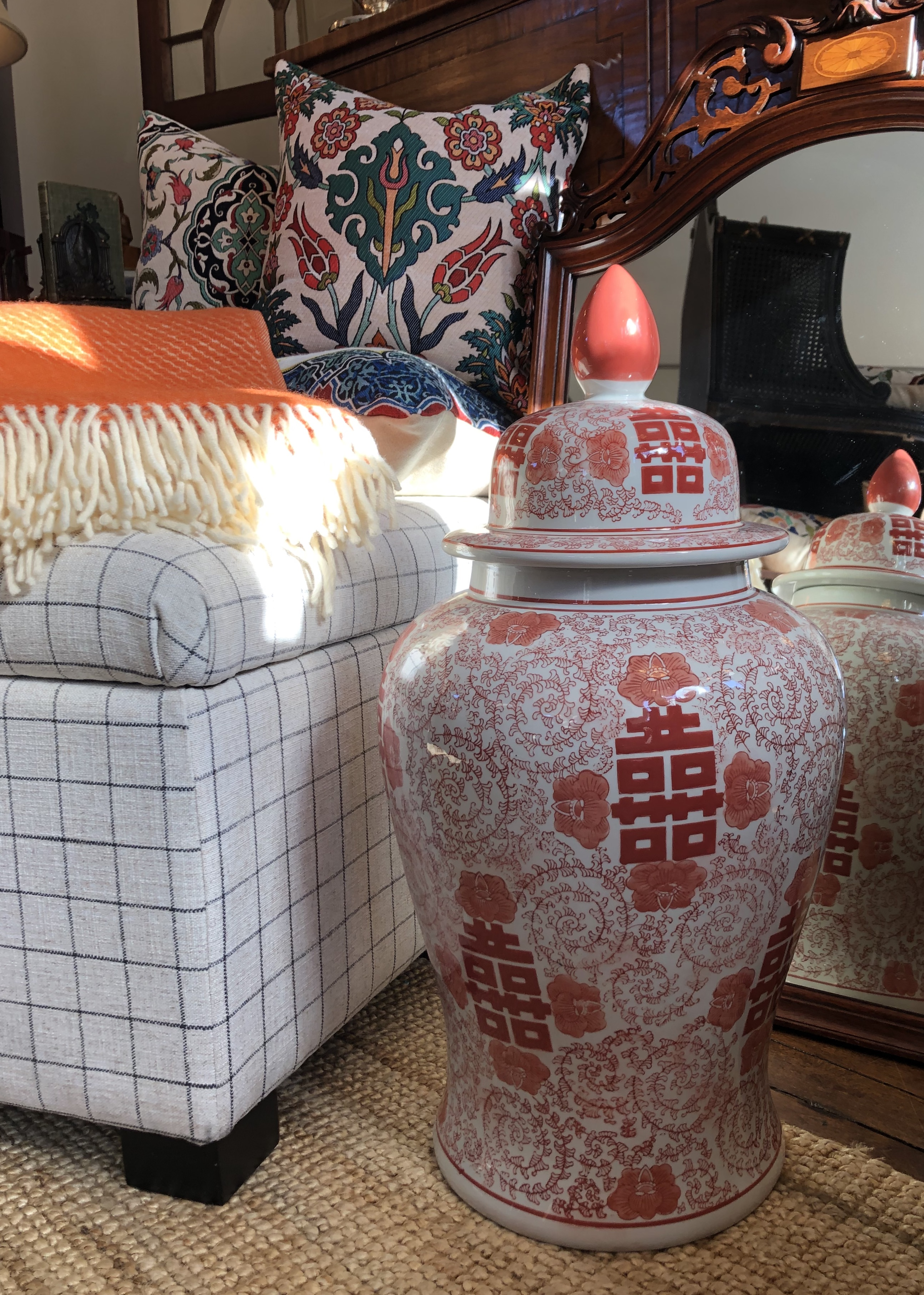 Large Coral Chinoiserie Urn