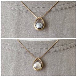 Brushed Gold Short Necklace with White or Grey Pearl Pendant