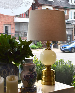 Glass Ball Lamp with Brass