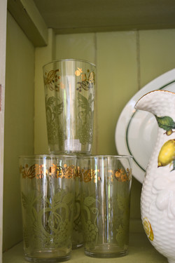 Gold and Green Vintage Glasses