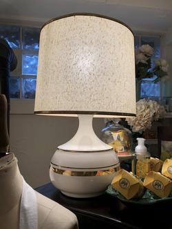 Vintage White Lamp w/ Gold Stripe