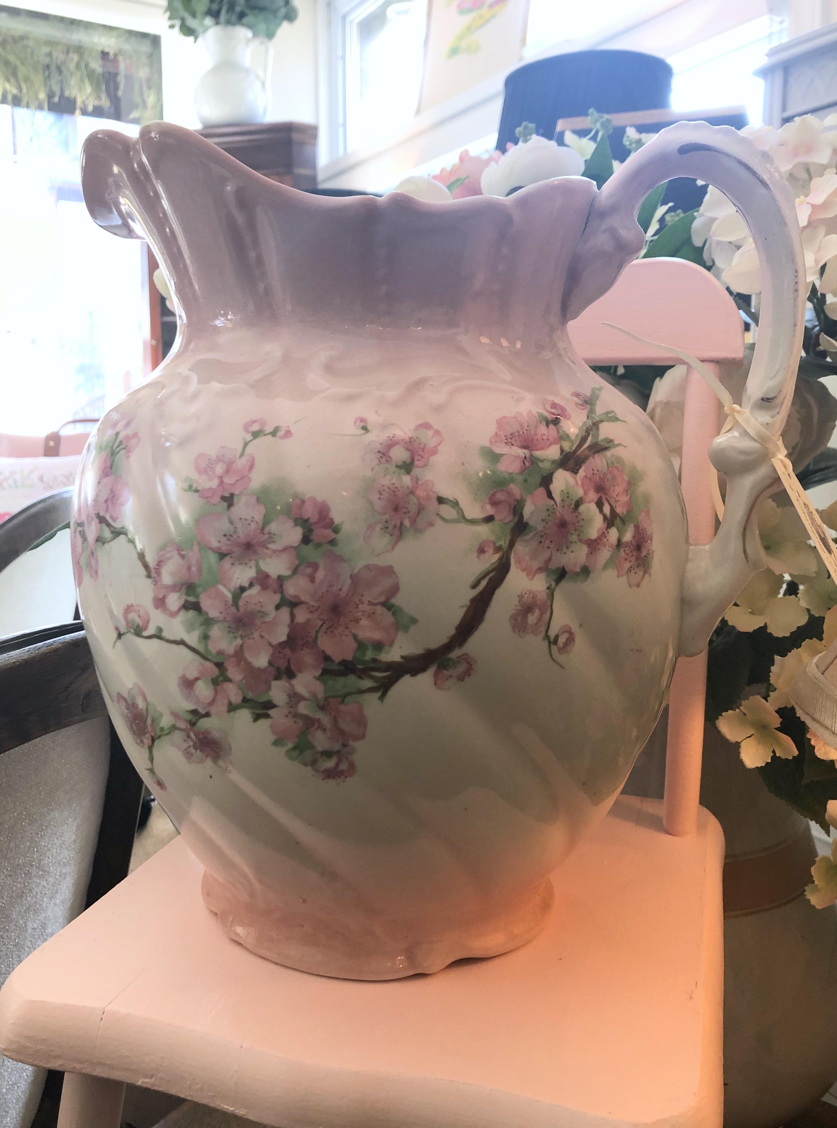 Vintage Pink Apple Blossom Jug
