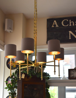 Brushed Gold  Chandeliere w/ Shades