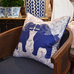 Designer Feather Accent Cushions - Pair Happy Foo Dogs