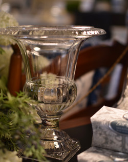 Sm Glass Footed Urn