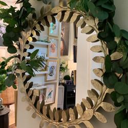 Decorative Round Leaf Mirror