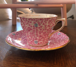 Cup and Saucer Pink Floral