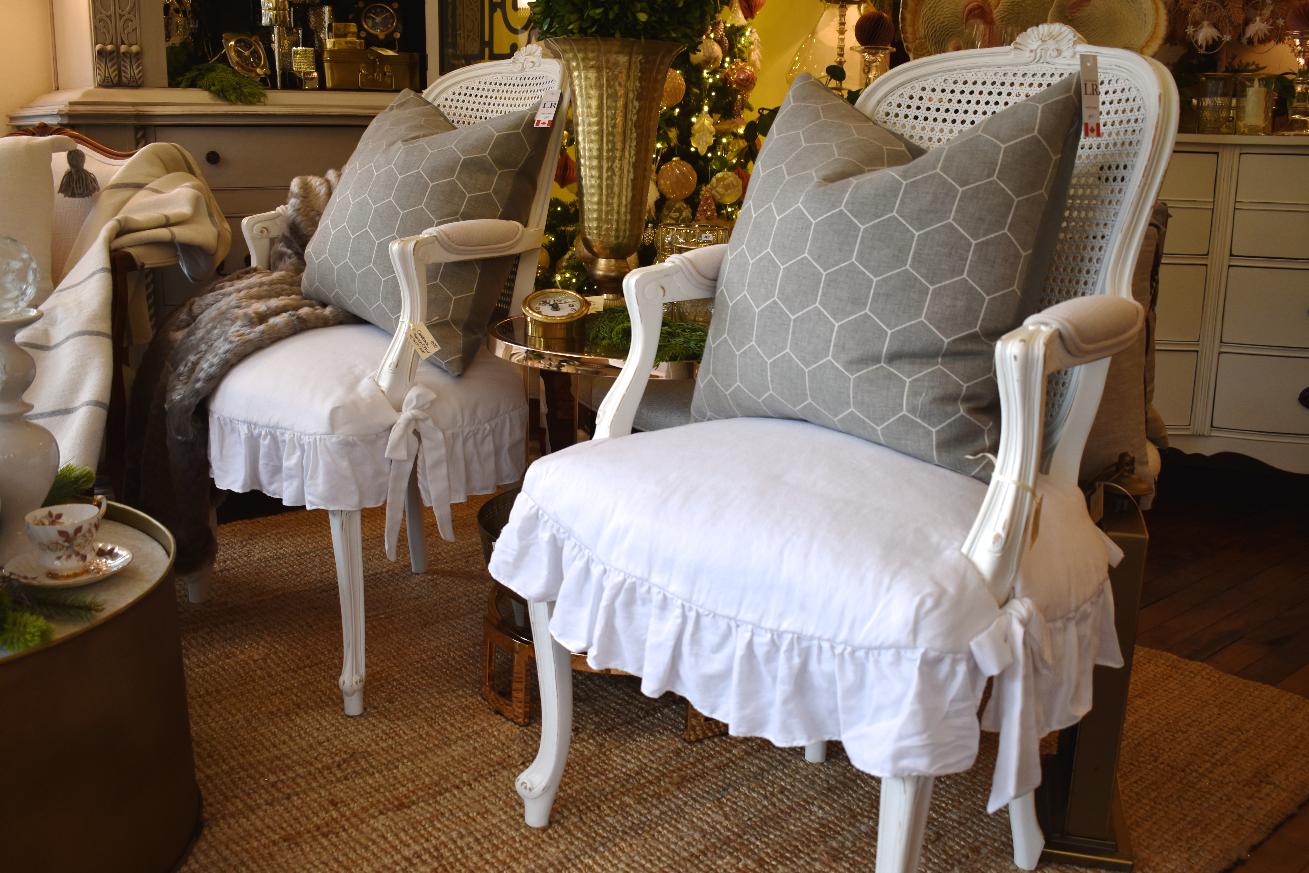 Pair of French Chairs with Slip Covers