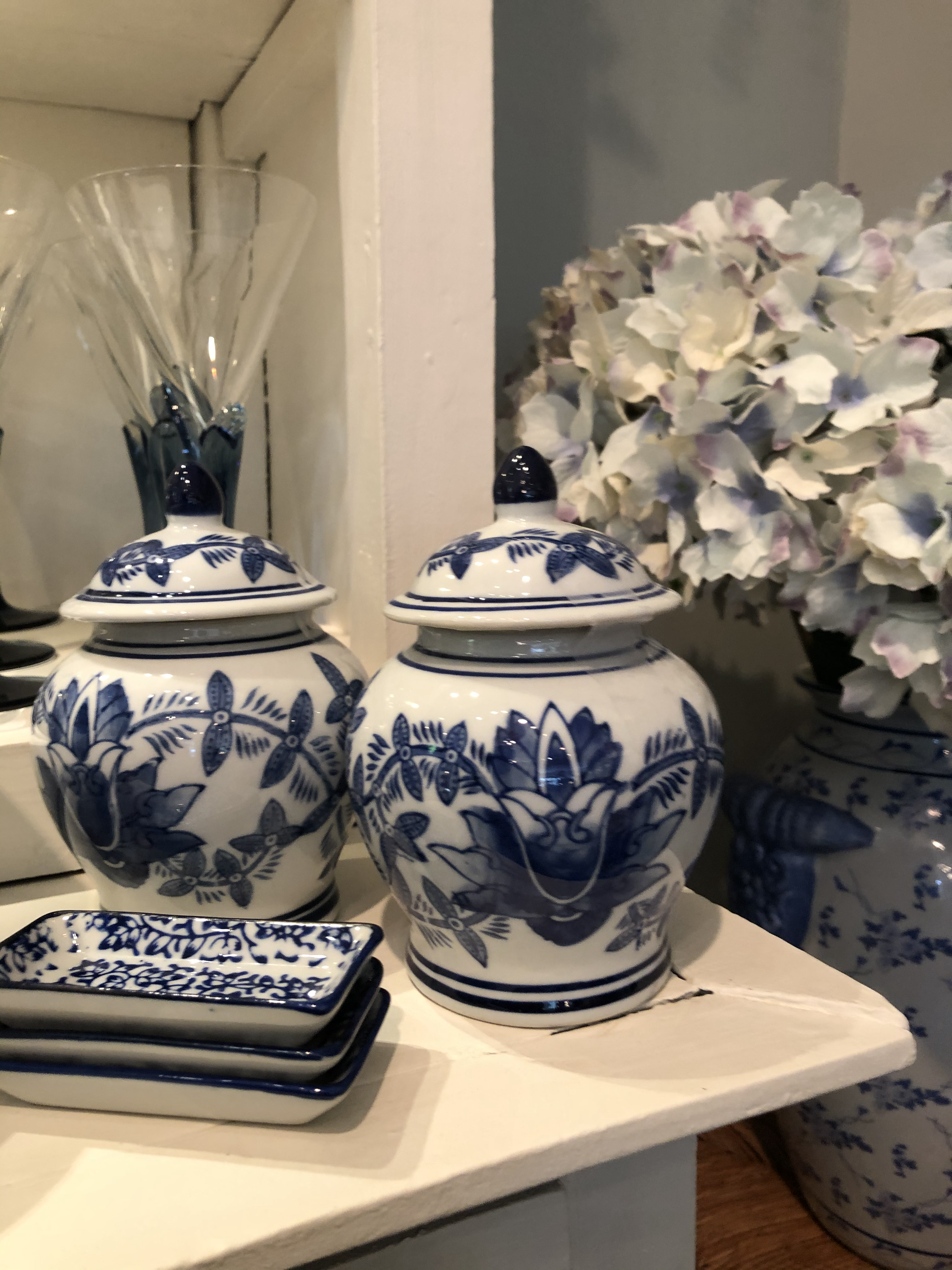 Small Blue and White Urns