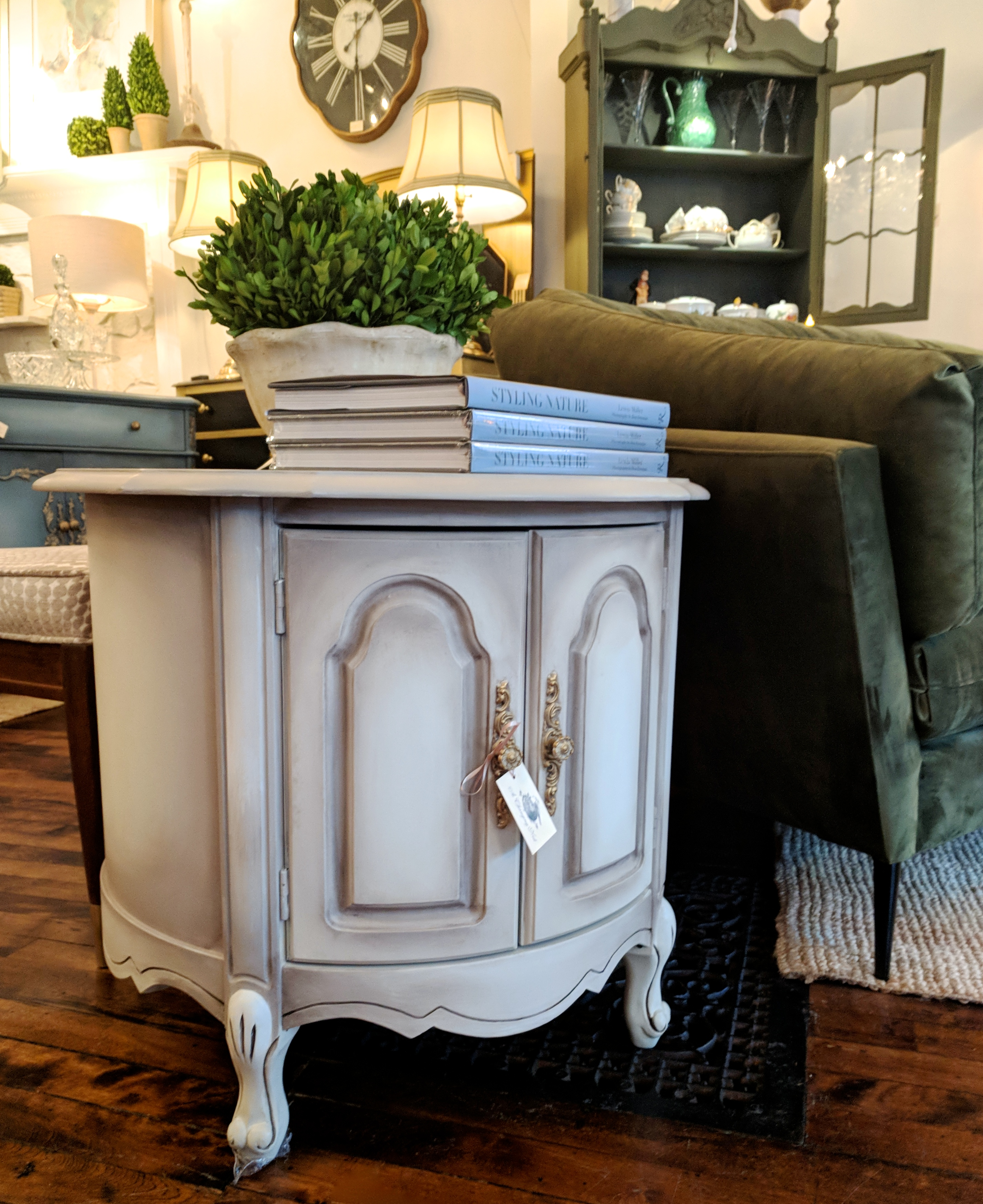 Vintage Painted Drum Table
