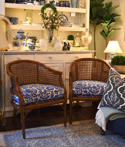 Pair of Reupholstered Vintage Cane Chairs