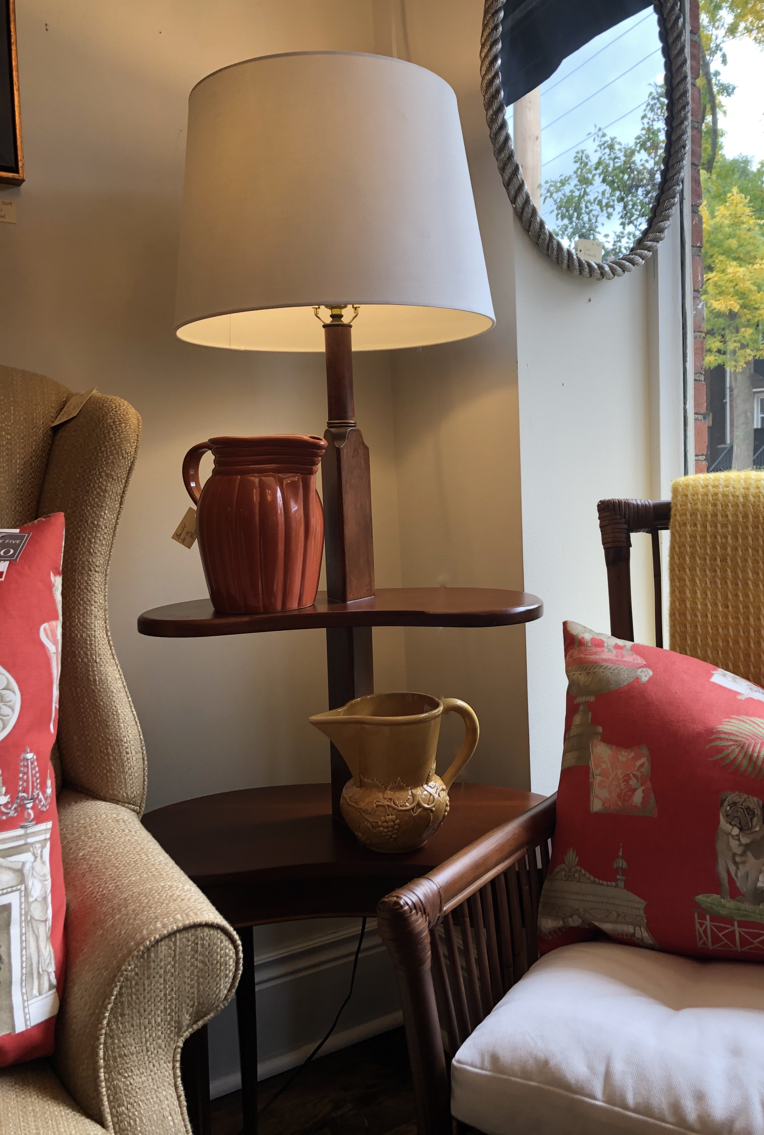 Two Tiered MCM Kidney Shaped Lamp