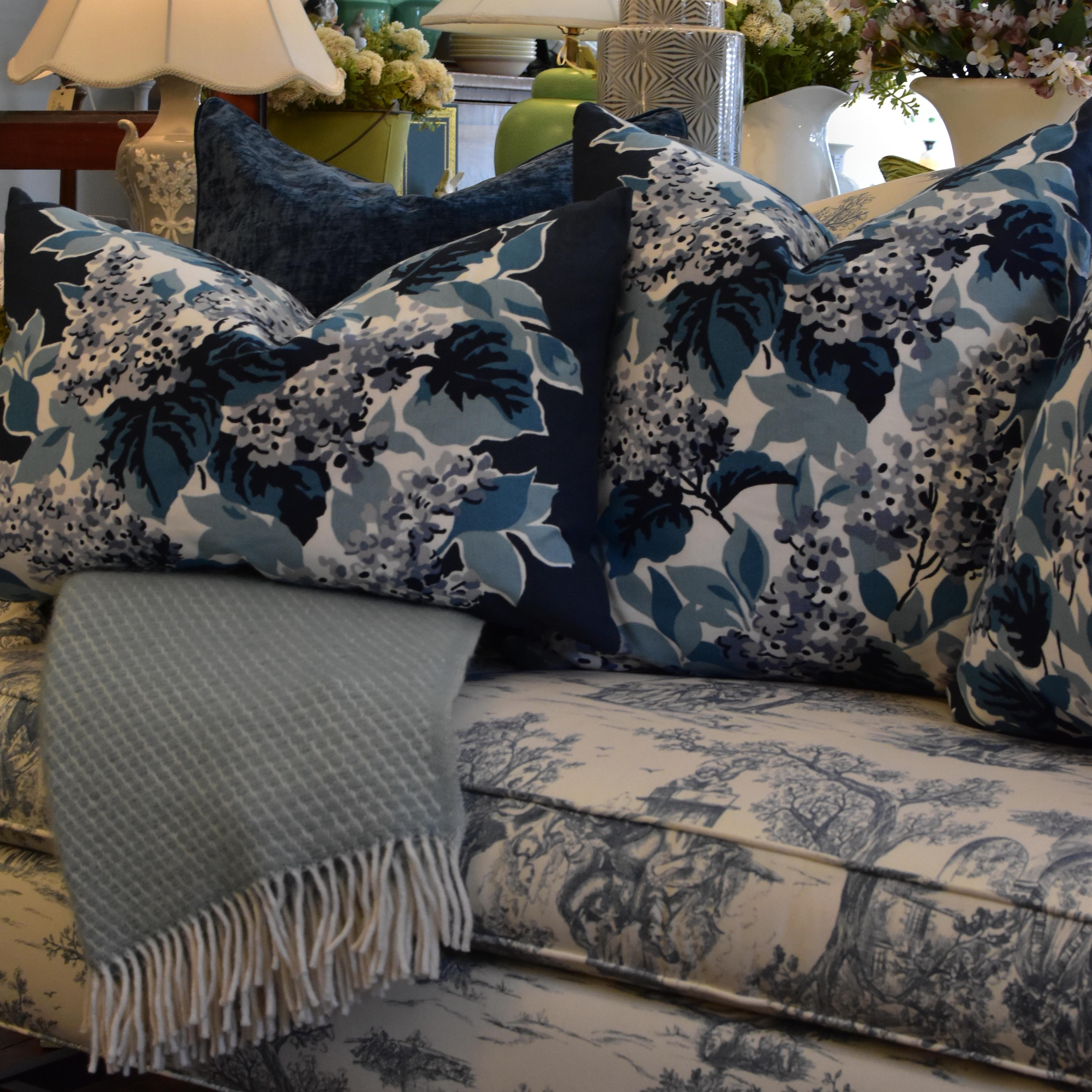 """Blue Hydrangea 22"""" Cushions"""