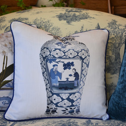 Designer Feather Accent Cushions - Tall Urn on White