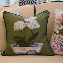 Designer Feather Accent Cushions - Orchid Bowl on Green