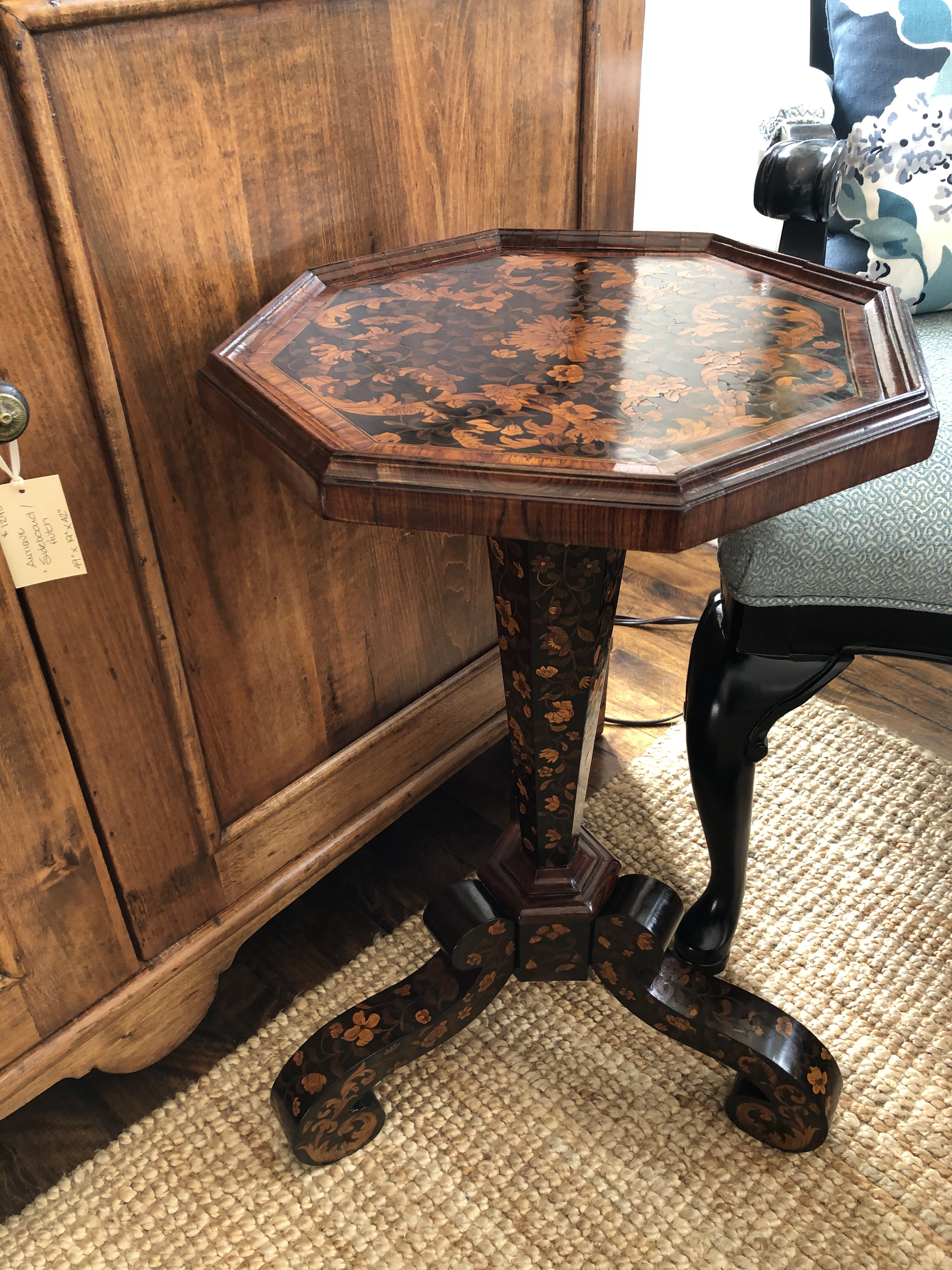 Antique Marquetry Pedestal Table
