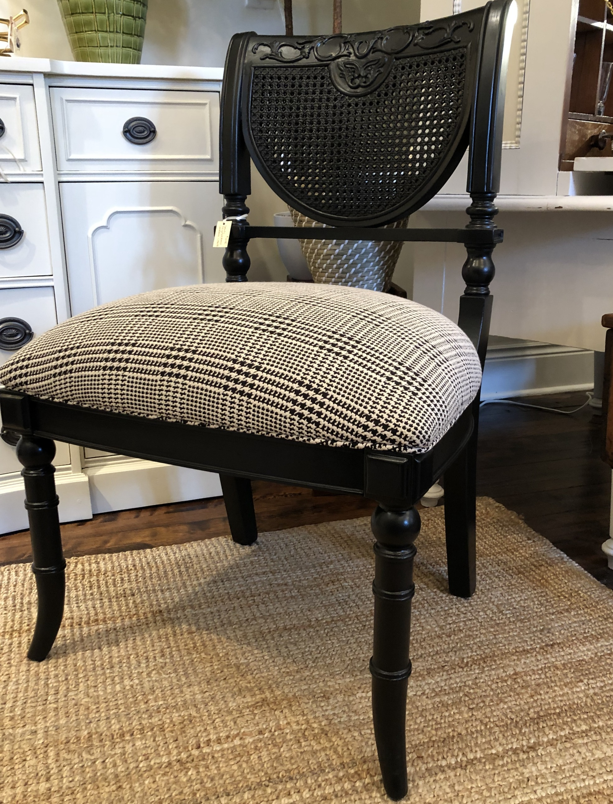 Vintage Cane  Upholstered Dining Chair