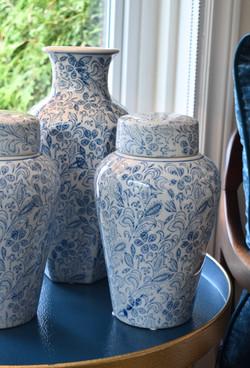 Blue and White Ceramic Urn and Vase