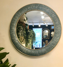 Blue Green Tin Mirror with Gold Accent