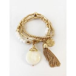 White & Gold Set of  3 Chain Stretch Bracelets