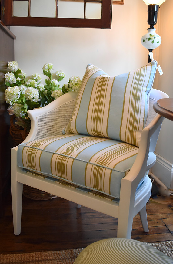Vintage Painted & Upholstered Cane Chair