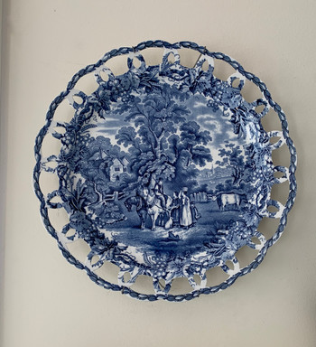Vintage Transferware Plate with Hanger