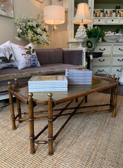 1970s Faux Bamboo Coffee Table with Brass Tray Top