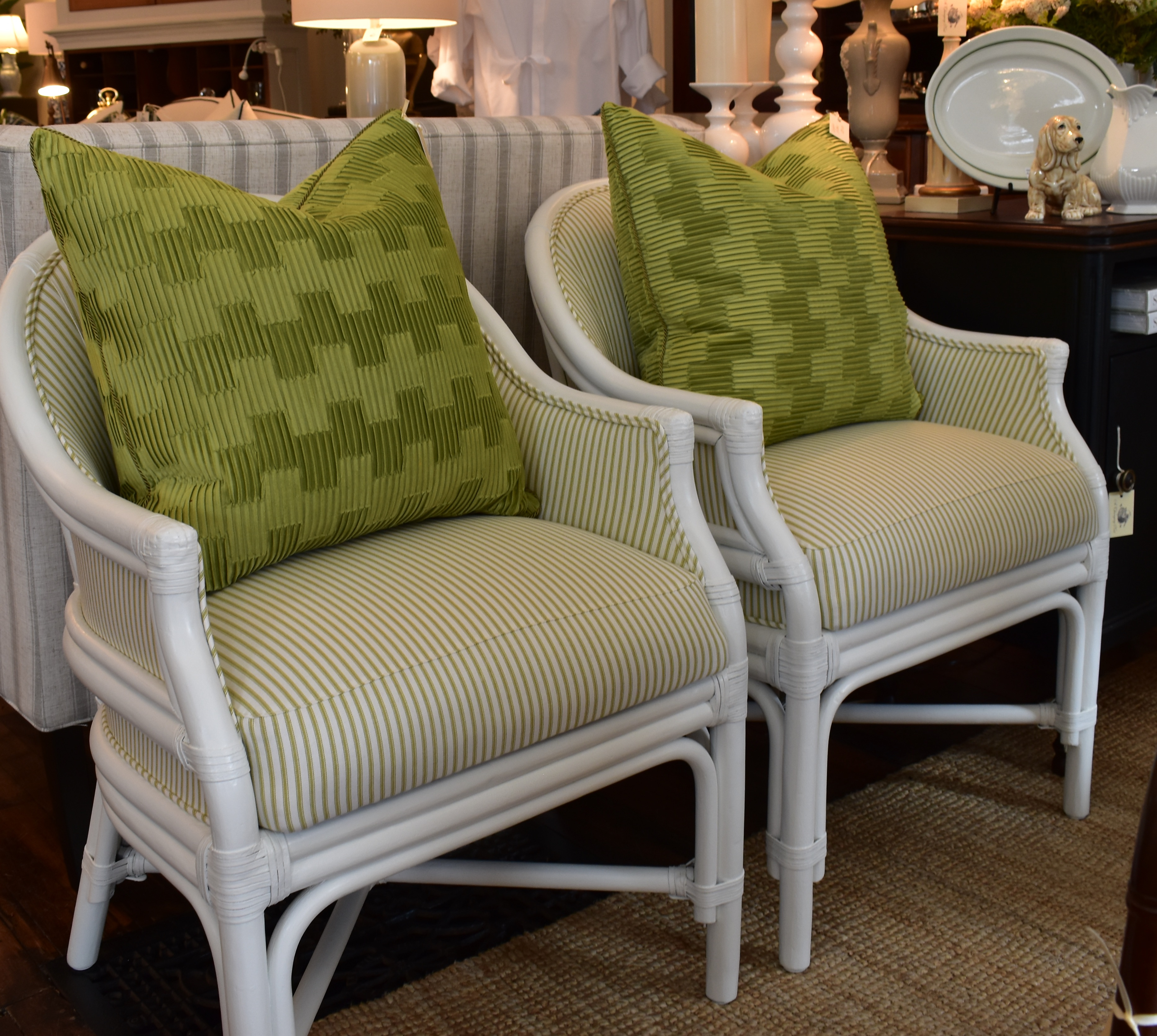 Pair of Newly Reupholstered & Painted  Rattan Chairs