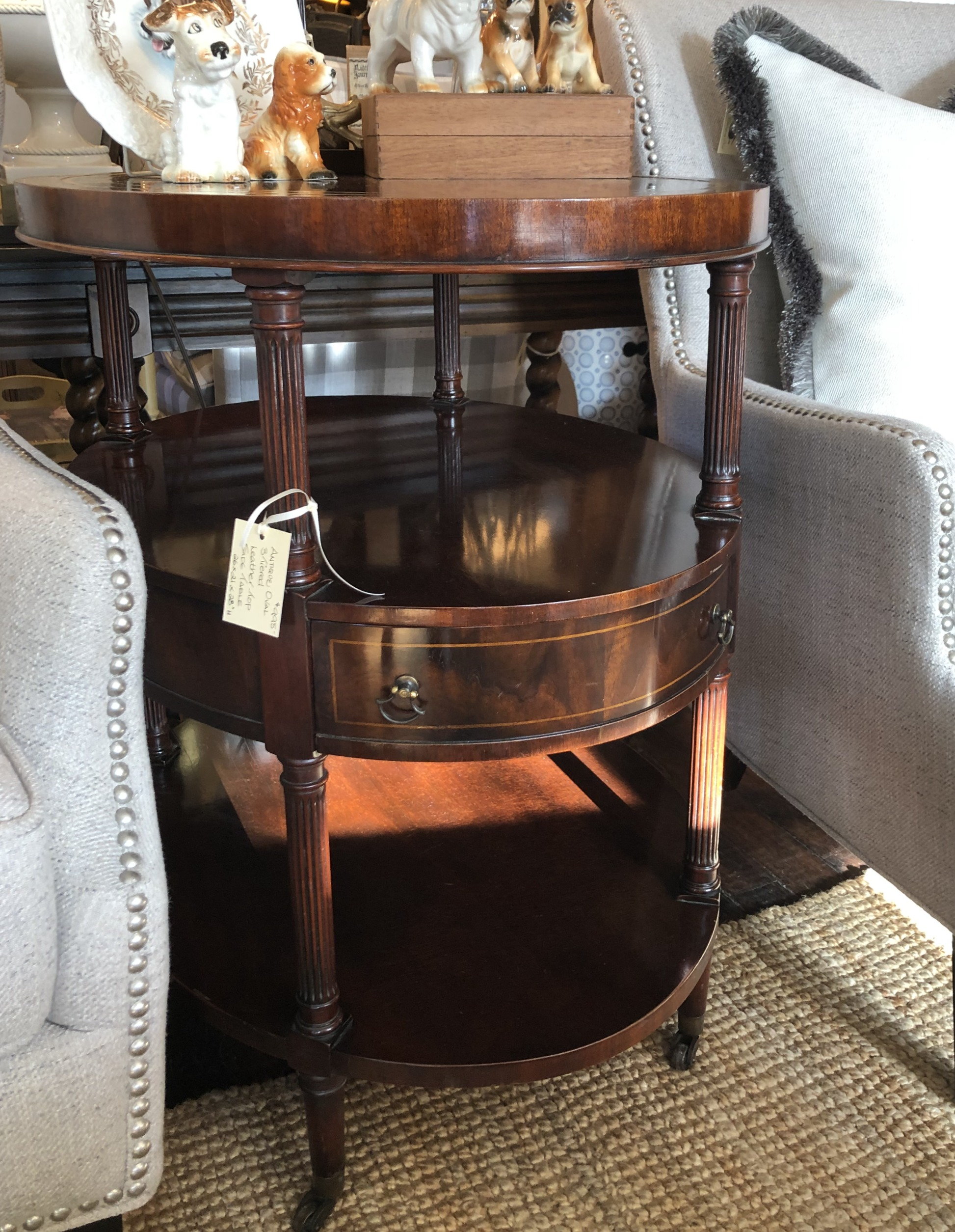 Antique Two Tiered Oval End Table