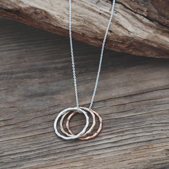 Tri Metal Ring Necklace