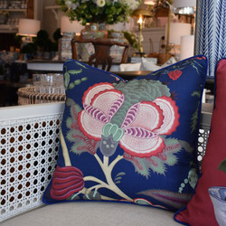 Designer Feather Accent Cushions - Blue with Flower