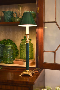 Pair of Green Candlestick Lamp